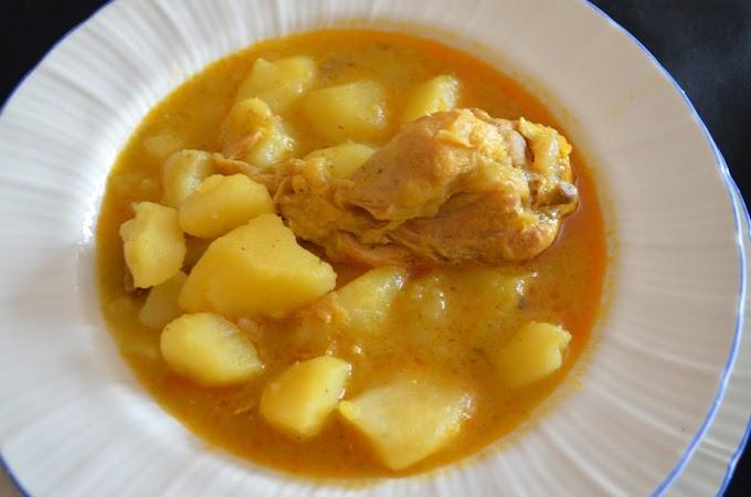 Guiso tradicional de patatas y pollo