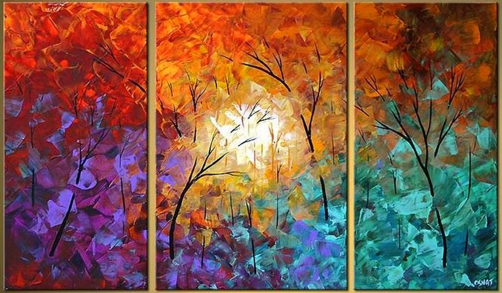 Cuadros modernos pinturas y dibujos 30 cuadros tr pticos - Cuadros para principiantes ...