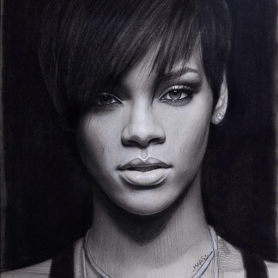 01-Rihanna-Justin-Maas-Pastel-Charcoal-and-Graphite-Celebrity-Portraits-www-designstack-co