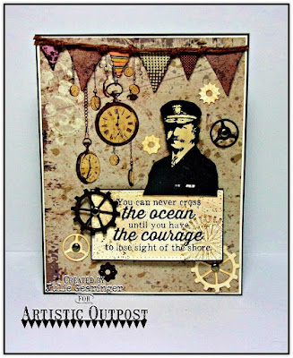 Artistic Outpost Stamp Set: The Captain, Vagabond Treasures Paper Collection, Steampunk Gears Dies