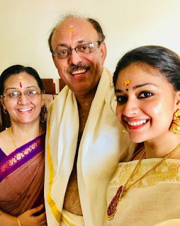 Keerthy Suresh in Saree with her Mother and Father