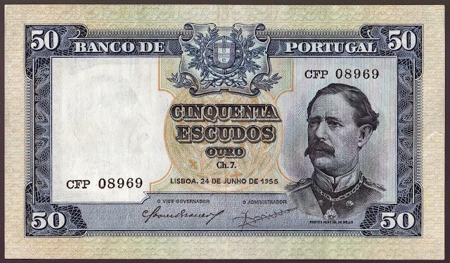 Portugal Banknotes 50 Escudos banknote 1955 Fontes Pereira de Melo