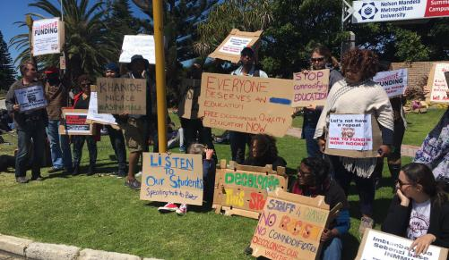South African police fire teargas as university fees protest