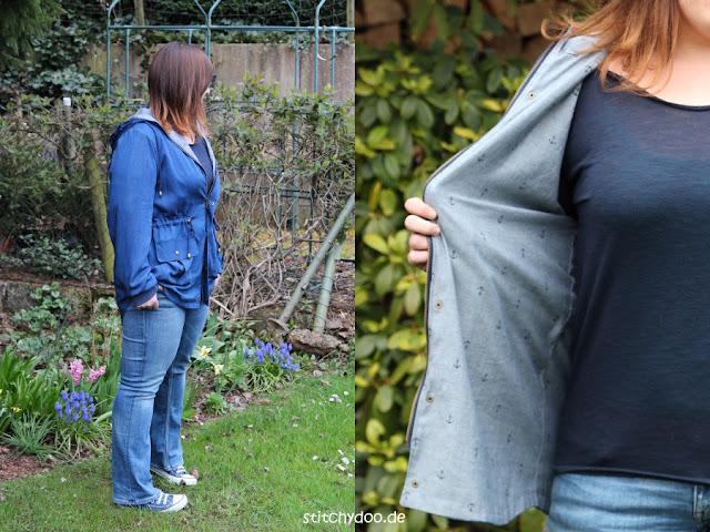 stitchydoo: Wind & Wetter Parka aus blauem Tencel-Chambray in Jeansblau - Innenstoff Baumwoll-Chambray in Grau mit Ankern