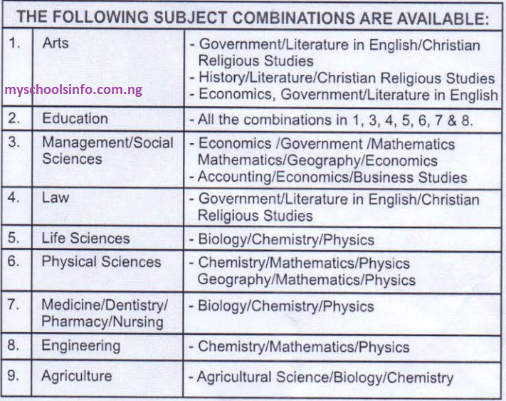 uniben jupeb subjects combinations