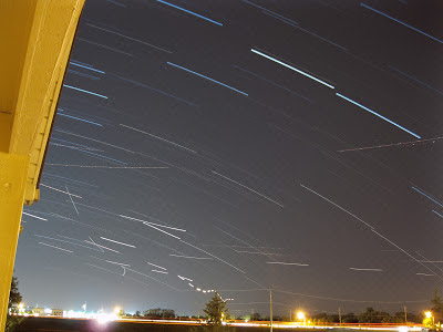 star trails and air traffic