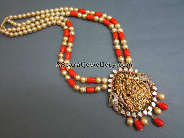 Two Layer Coral Beads Set Lakshmi Pendant