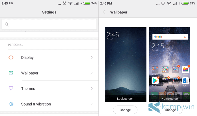 settings wallpaper change