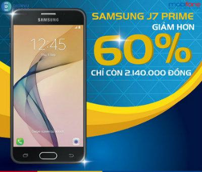 Mobifone giảm giá khi mua điện thoại Samsung Galaxy J7 Prime