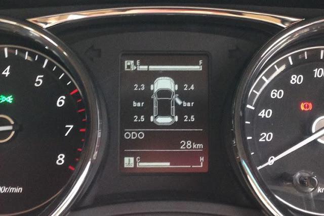 Fitur Tire Pressure Monitoring System (TPMS) yang ditampilkan pada meter cluster.
