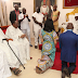 Edo State governor, gov-elect and their wives kneel for royal blessings before the Crown Prince of Benin Kingdom (Photos)