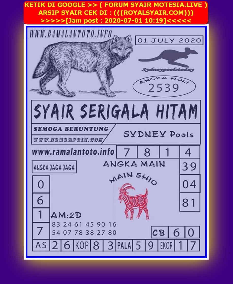 Kode syair Sydney Rabu 1 Juli 2020 207