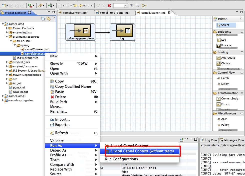 Red Hat JBoss Fuse - Sending message to queue in ActiveMQ via Camel