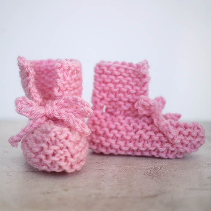 EASY Tie Front Baby Booties Free Knitting Pattern by Gina Michele