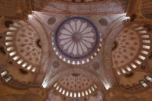 Blue Mosque is known for the lining of 20,000 blue tiles from the 16th Century Iznik design (the oldest tiles featuring flowers, trees and abstract patterns) in Sultanahmet, Istanbul, Turkey