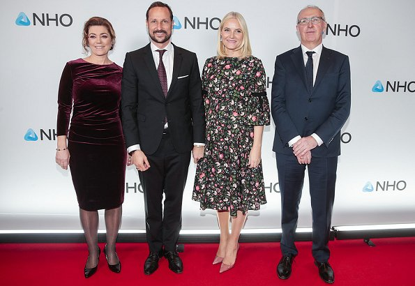 Crown Princess Mette Marit wore ERDEM Aleena floral print matelasse dress and Gianvito Rossi pumps at NHO