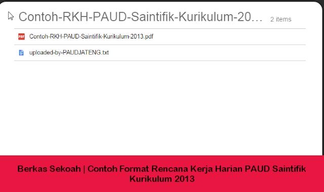 Berkas Sekoah | Contoh Format Rencana Kerja Harian PAUD Saintifik Kurikulum 2013