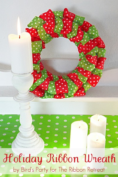 DIY Easy Ribbon Wreath - BirdsParty.com