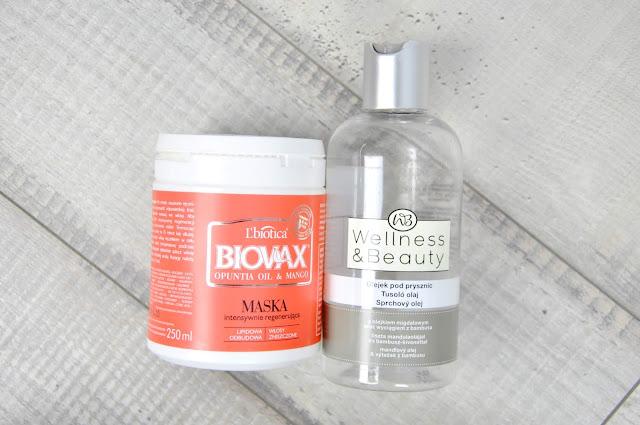 maska do włosów l'biotica biovax opuntia oil&mango, olejek do mycia gąbek wellness&beauty