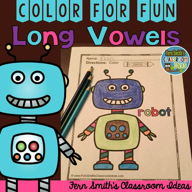 Fern Smith's Classroom Ideas - Freebie Friday Color for Fun Short Vowels Bear Cub sample page and Long Vowels Robot Sample page at TeacherspayTeachers.