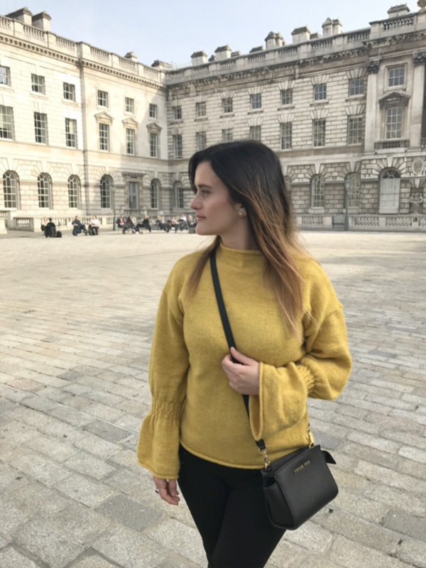 Mustard sweater with flared sleeves 1