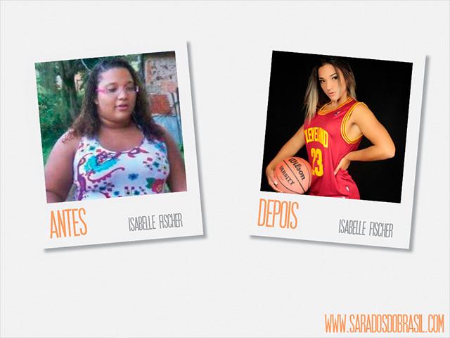 A mudança física de Isabelle Fischer: de 118 kg para 71,8 kg. Foto: Arquivo Pessoal/Victor Catinin