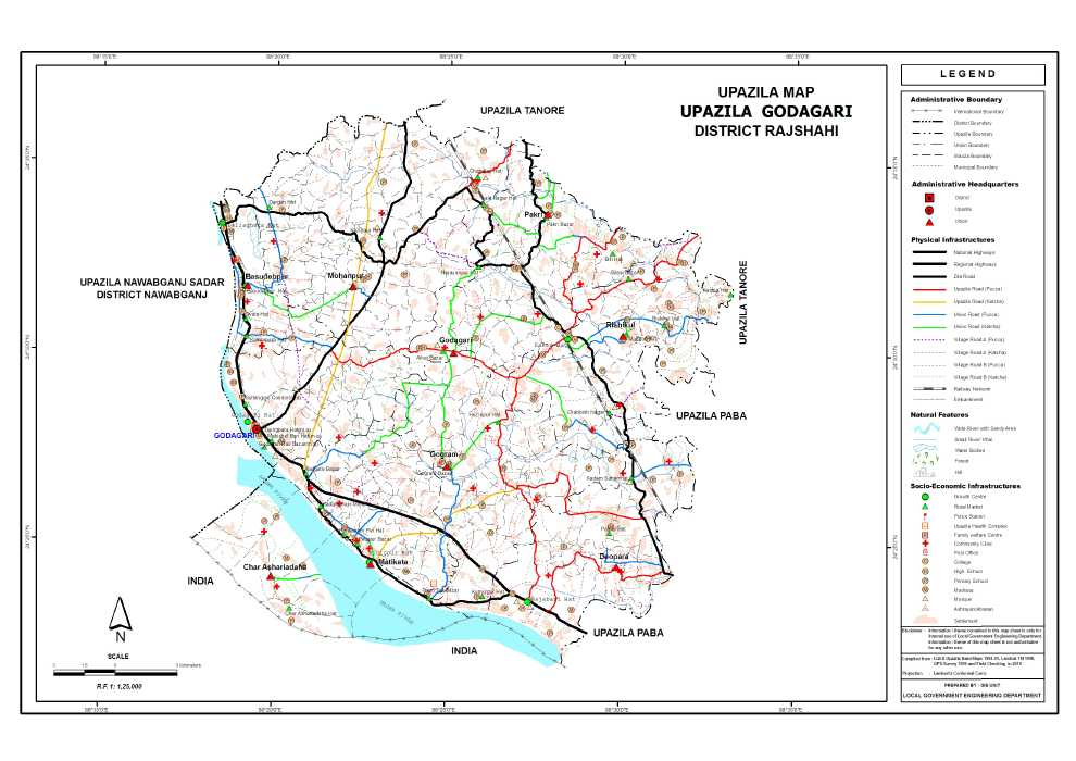 Godagari Upazila Map Rajshahi District Bangladesh