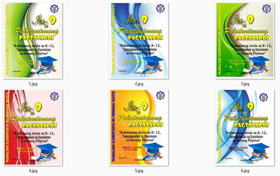 6 Choices of Graduation Program Front Covers - DepEd LP's