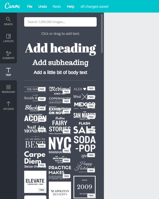 Kiểu text với các mẫu có sẵn Canva