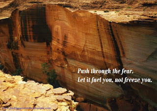 Image of a red stone cliff edge with text: Push through the Fear, Let it fuel you, not freeze you.Image of a red stone cliff edge with text: Push through the Fear, Let it fuel you, not freeze you.