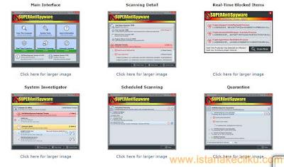 SUPERAntiSpyware adalah software terbaik anti-malware dan anti-spyware lainnya. Memiliki antarmuka yang sederhana untuk navigasi yang lebih mudah. Mendeteksi dan menghapus spyware, ad-ware, malware, dialer, Trojan, worm, key logger dan dari ancaman jenis lain. Software ini sangat ringan dan tidak pernah memperlambat komputer Anda. Dengan perlindungan real time nya akan mencegah perangkat lunak berbahaya untuk menginstal atau menginstal ulang otomatis.
