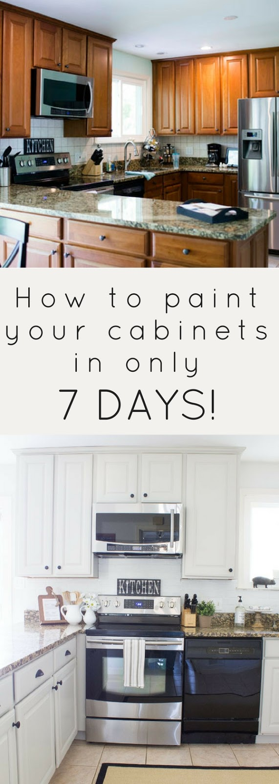 How to paint your kitchen cabinets fast! With the right tools, it's easy! Get the tutorial and get your kitchen back in order in only 7 days!
