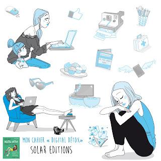 "illustration édition Solar, Mon cahier ""Digital détox"""
