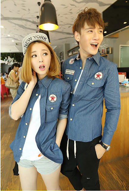 Baju Kemeja Denim Couple Korea Murah Banget