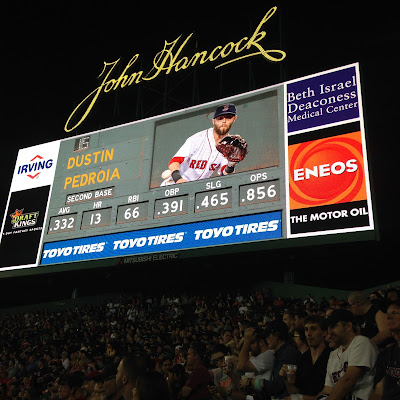 Dustin Pedroia on the Jumbotron at the Bleachers of Fenway