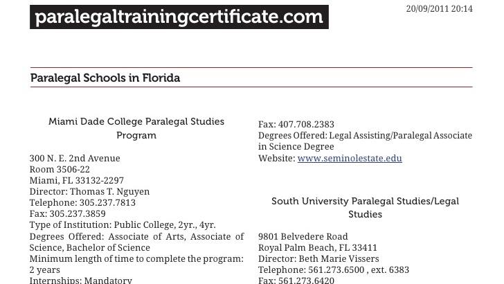 paralegal florida schools