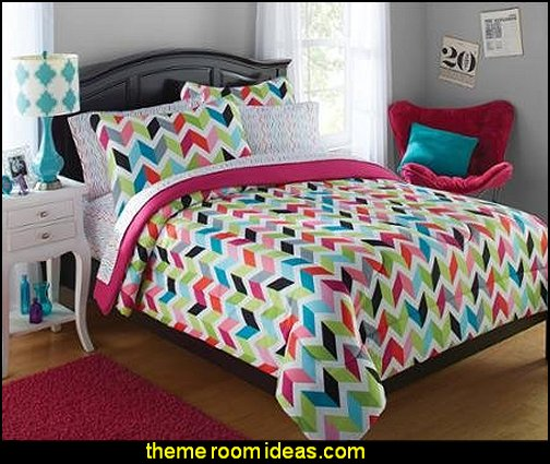 your zone bright chevron bed-in-a-bag bedding set