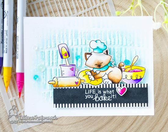 Cats Baking card by Tatiana Trafimovich | Newton's Kitchen and Made from Scratch Stamp Sets and Serene Stripes Stencil by Newton's Nook Designs #newtonsnook #handmade #kitchenstamps