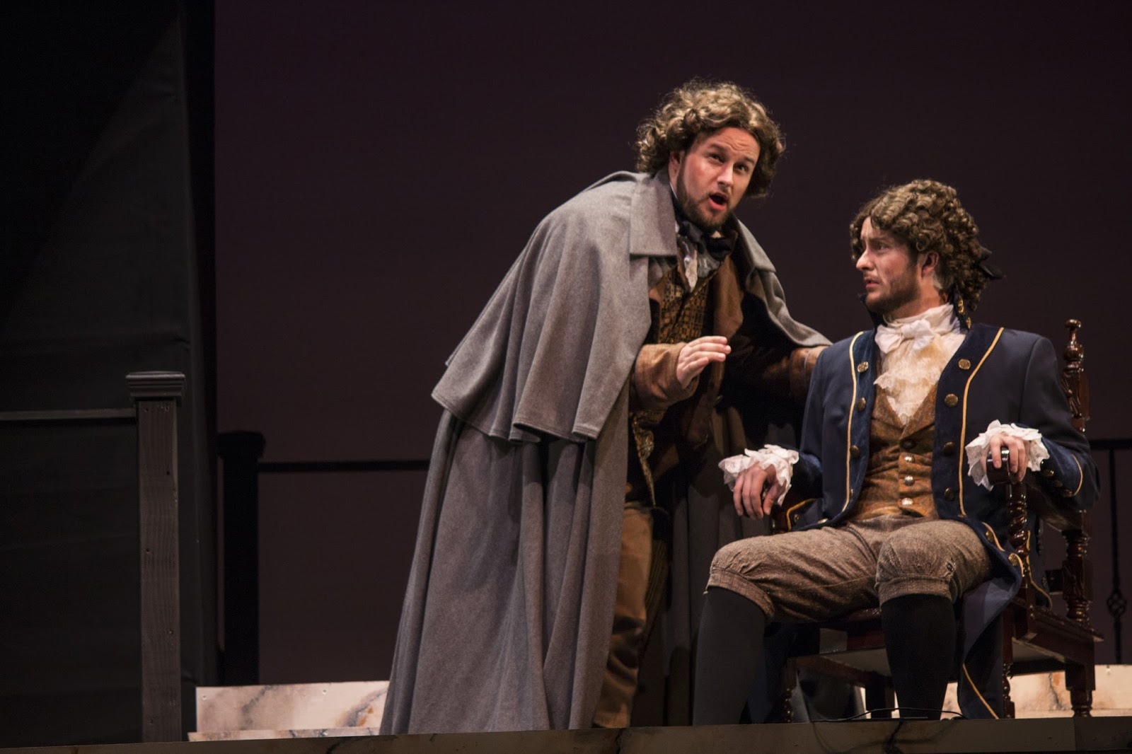 IN PERFORMANCE: Tenor DEREK JACKENHEIMER as the Chevalier de la Force (left) and baritone JAMES V. SCARANTINO as the Marquis de la Force (right; performing on 8 April) in UNCG Opera Theatre's production of Francis Poulenc's DIALOGUES OF THE CARMELITES, April 2016 [Photo by Rachel Anthony, © by rayphotographyco.com]