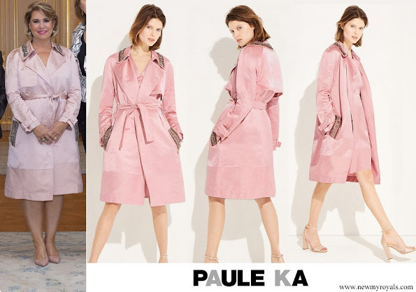 Duchess Maria Teresa wore Paule Ka Trench coat in satin