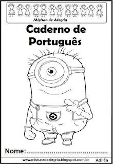 Capa para caderno de português - Minions