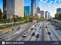 The 110 Harbour Freeway and Downtown Los Angeles skyline, California, United States of America, North America (Credit: robertharding / Alamy Stock Photo) Click to Enlarge.