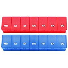 COM-FOUR® 2x Medikamenten-Box in blau und rot, Aufbewahrung für 7 Tage (blau/rot - 2 Stück)