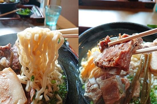 スタミナそばの麺と本ソーキの写真