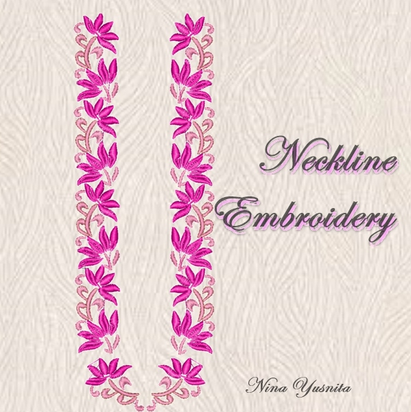 neckline embroidery - bordir kebaya