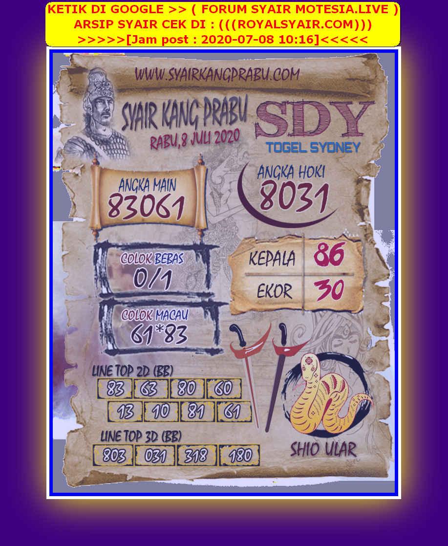 Kode syair Sydney Rabu 8 Juli 2020 51