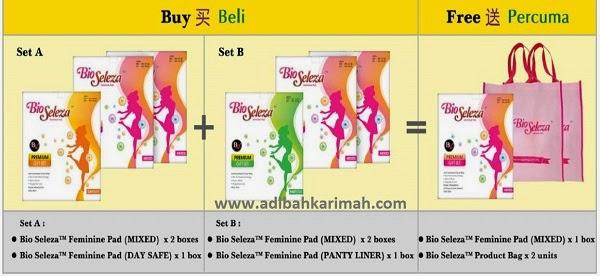Promosi set Bio Seleza Feminine Pad dengan harga istimewa