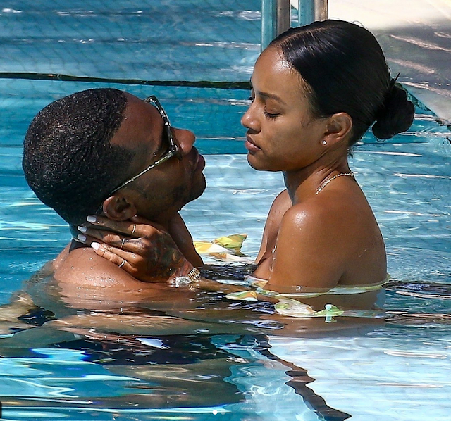 Karrueche Tran and her boyfriend, Victor Cruz, make out in the pool (raunchy photo)