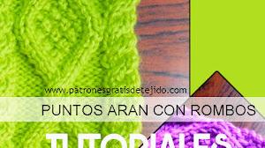 Cómo Tejer Punto Aran con Rombos con Dos Agujas  / 2 Tutoriales