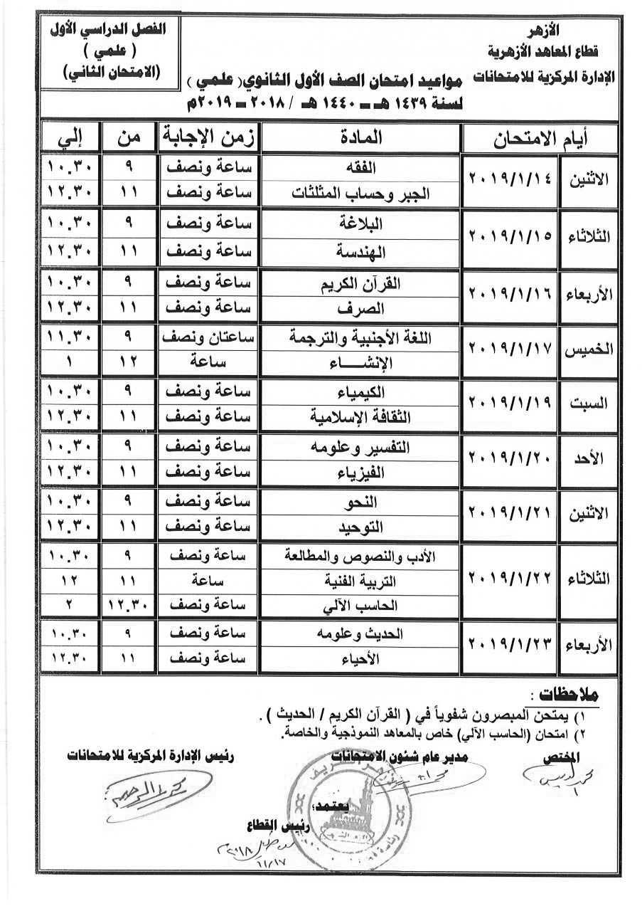 جدول إمتحانات الصف الأول الثانوي الأزهري علمي 2 الترم الأول 2019